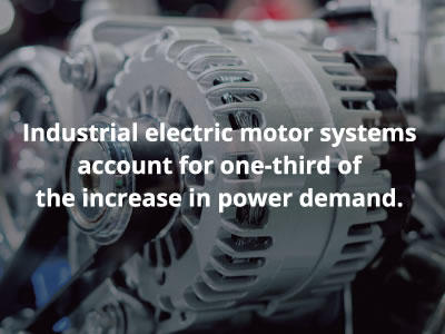Industrial electric motor systems account for one-third of the increase in power demand.